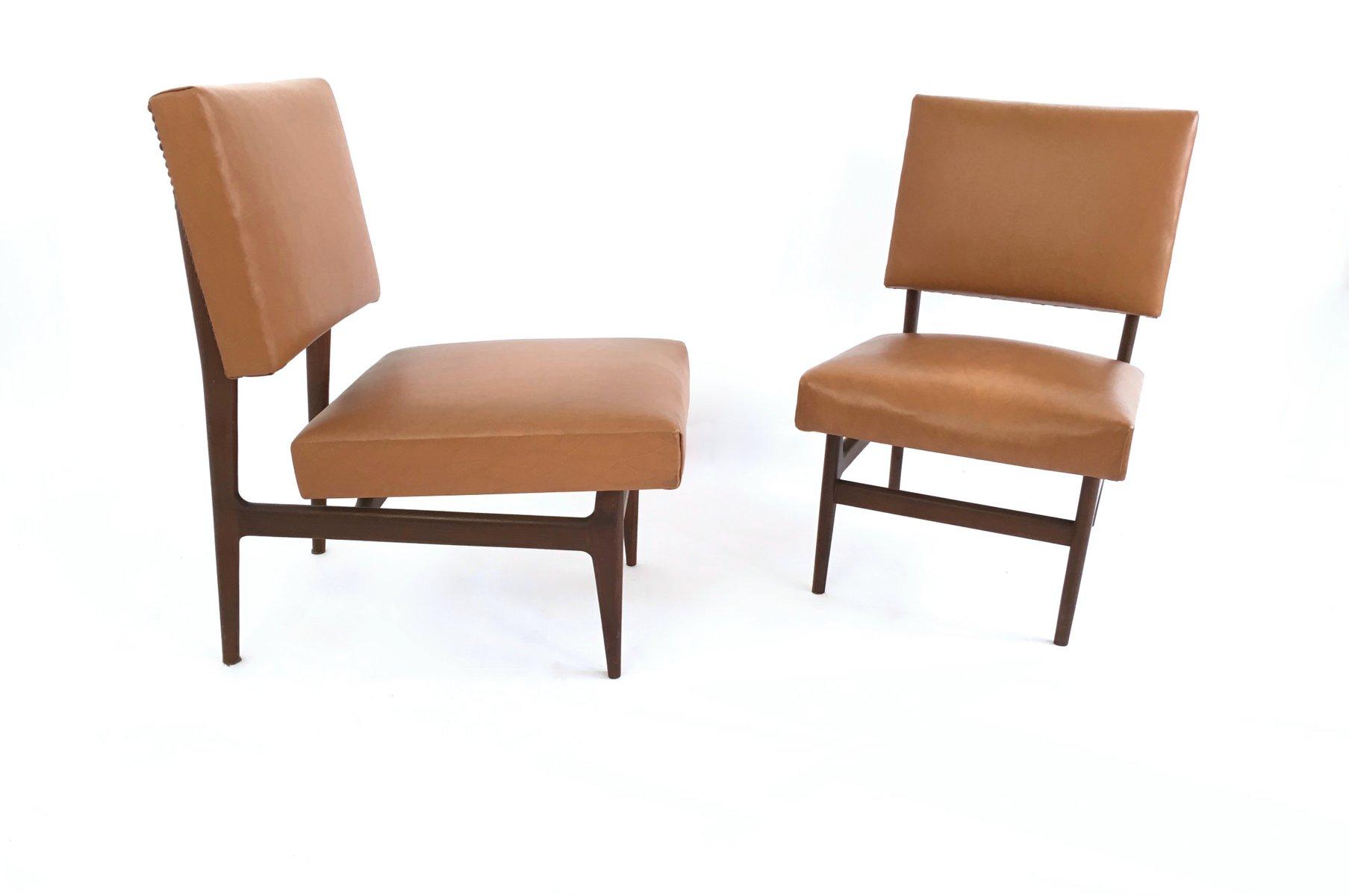 italienische mahagoni st hle mit skai leder 1950er 2er set bei pamono kaufen. Black Bedroom Furniture Sets. Home Design Ideas