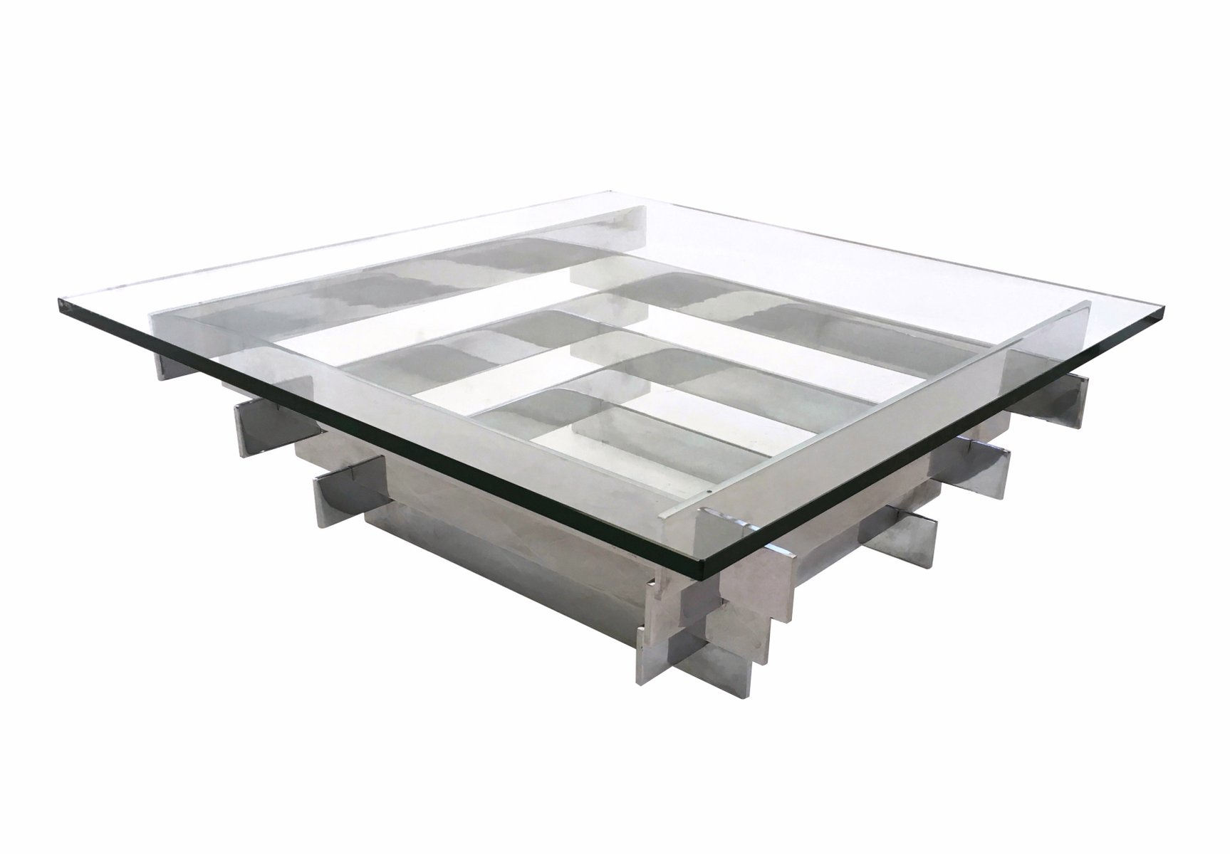 Tavolini In Vetro E Acciaio : Tavolino da caffè in vetro e acciaio di david hicks anni 60 in