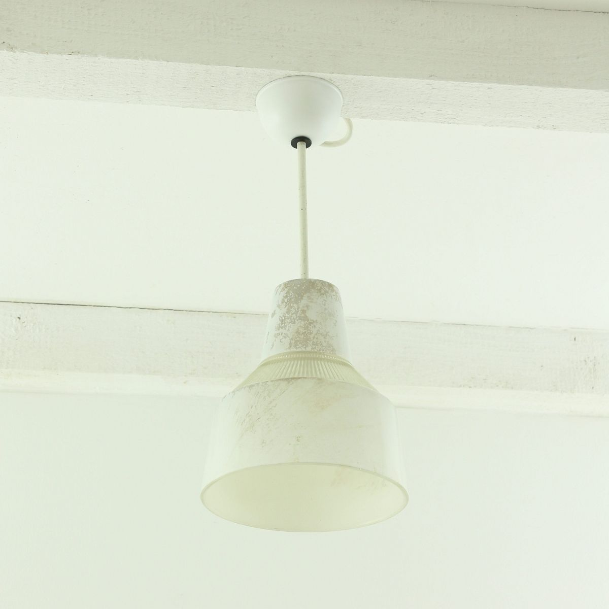 Industrielle Glas Deckenlampe, 1930er