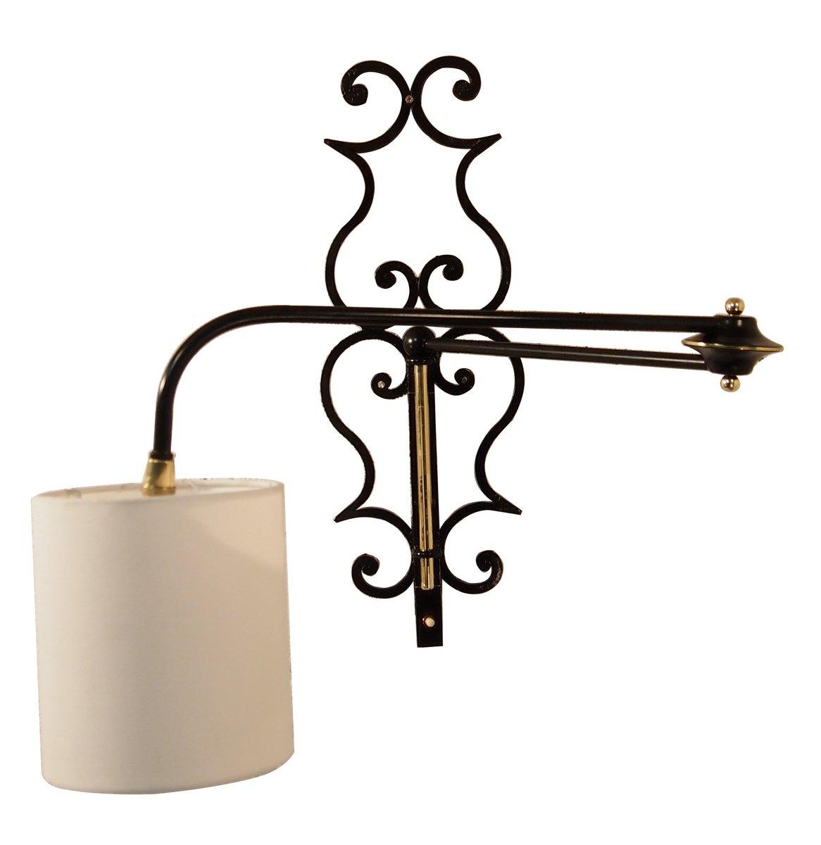 Applique da parete regolabile in ferro battuto e ottone 1956 in vendita su pamono - Applique da parete in ferro battuto ...