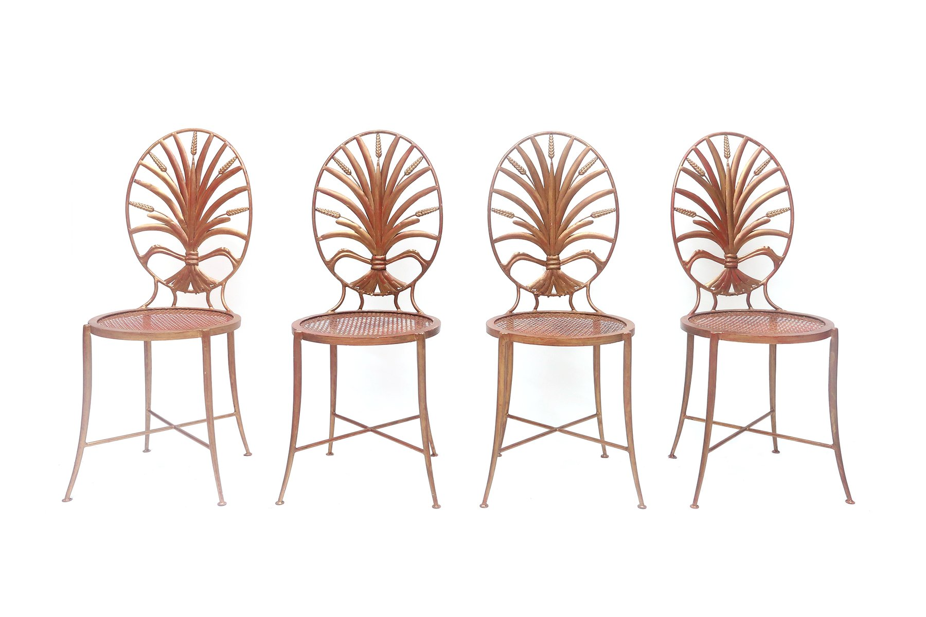 Gilt Wheat Sheaf Chairs From Salvadori 1970s Set Of 4