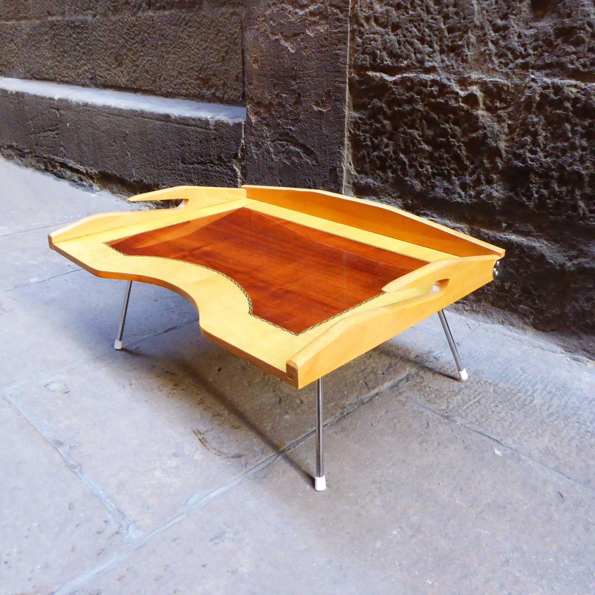 Mid Century Wooden Breakfast Folding Tray Table For At Pamono
