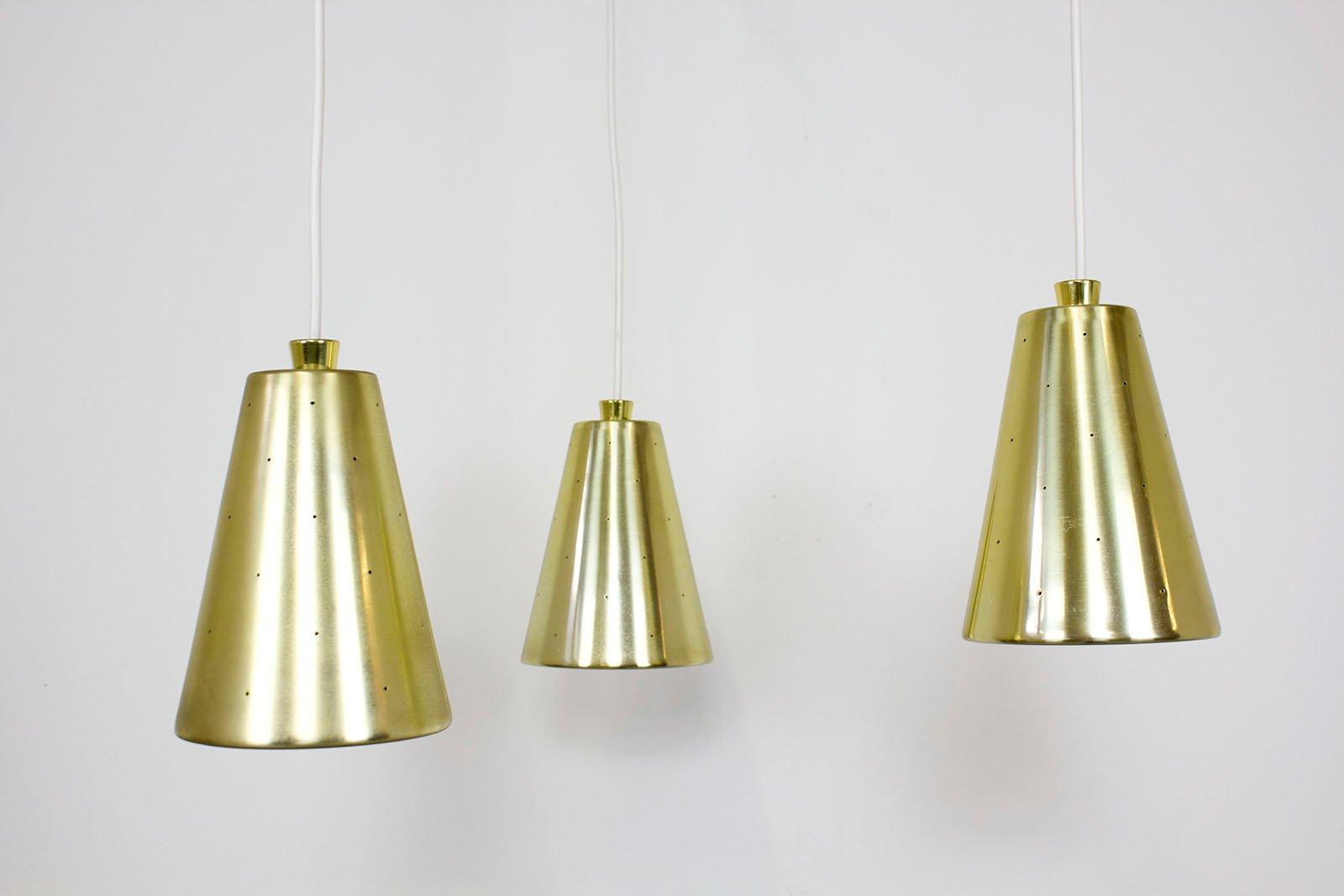 vintage messing teak glas deckenlampe mit drei leuchten von lightolier bei pamono kaufen. Black Bedroom Furniture Sets. Home Design Ideas