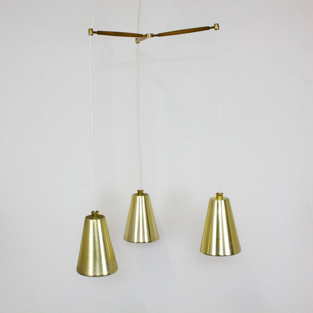 Vintage Messing, Teak & Glas Deckenlampe mit Drei Leuchten von Lightol...