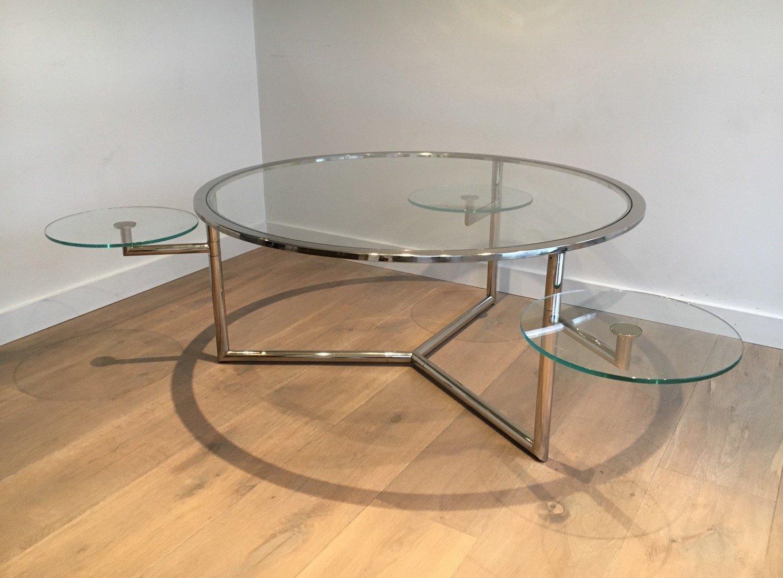 table basse ronde avec plateaux amovibles en verre 1970s en vente sur pamono. Black Bedroom Furniture Sets. Home Design Ideas