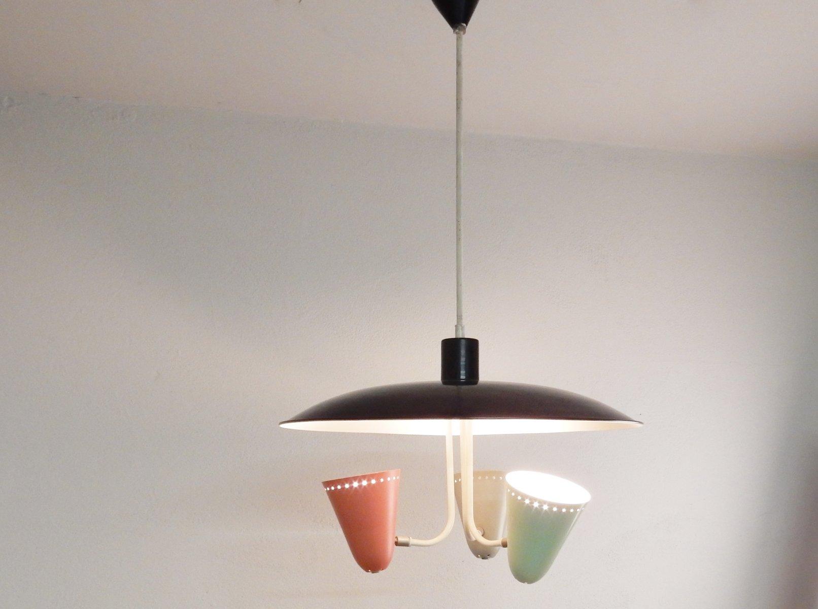 Niederländische Hängelampe mit Drei Leuchten in Kelchform von H. Busqu...
