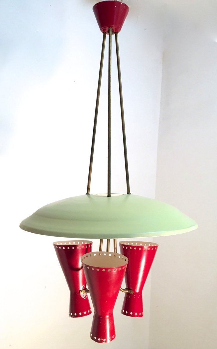 Italienische Hängelampe mit Leuchten in Diabolo Form von Stilnovo, 195...