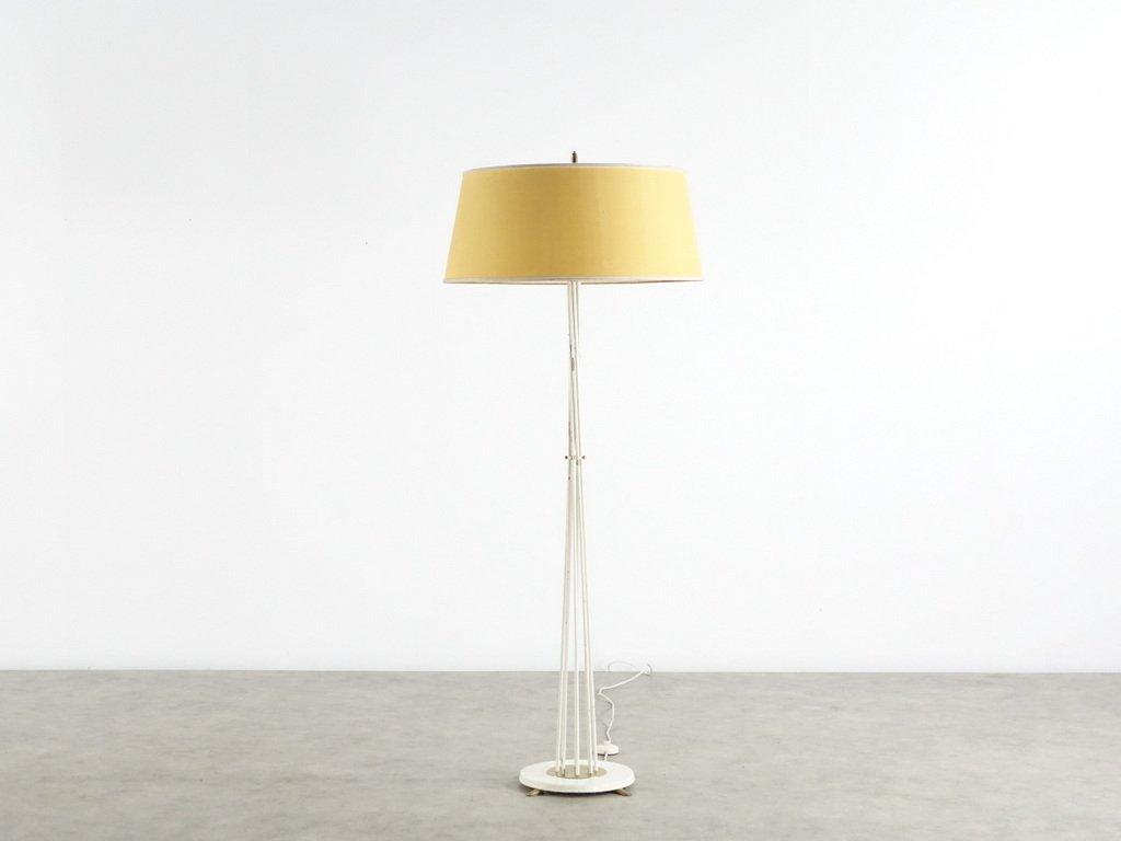 Messing Stehlampe mit Gelben Lampenschirm, 1950er