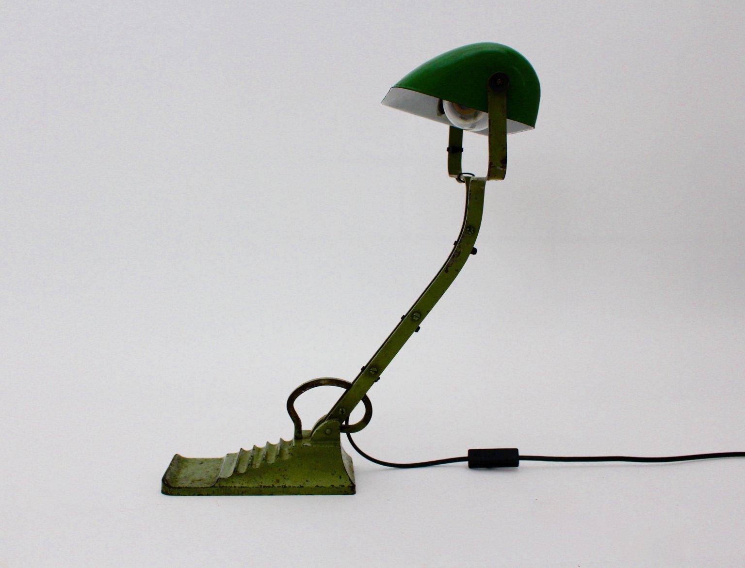 Bauhaus Green Glass Desk Lamp, 1920s for sale at Pamono
