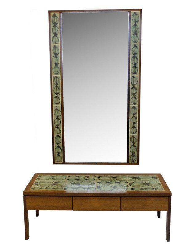 niedriger tisch spiegel mit kacheln von poul jensen l hjorth 1950er bei pamono kaufen. Black Bedroom Furniture Sets. Home Design Ideas