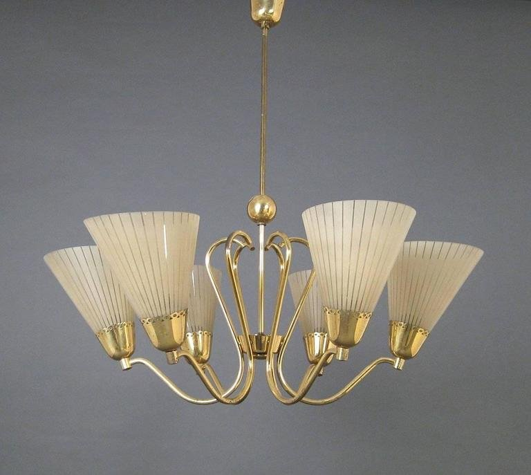 German brass etched glass chandelier 1950s for sale at pamono price per piece aloadofball Choice Image