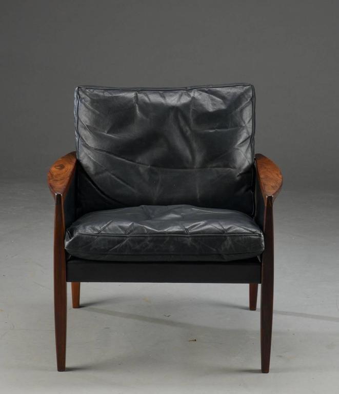 Vintage Palisander & Leder Sessel von Hans Olsen für the Juul-Kristens...