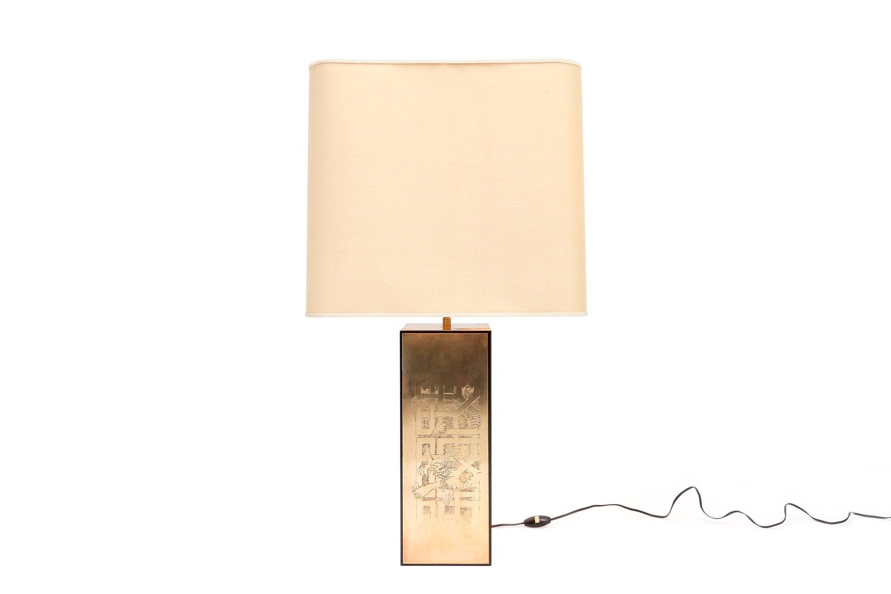 Tischlampe aus Geätztem Messing, 1970er