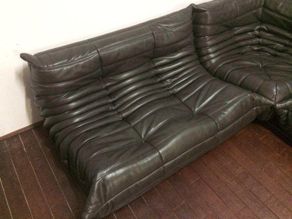 ensemble canap togo noir et olive en cuir par michel ducaroy pour ligne roset 1974 en vente. Black Bedroom Furniture Sets. Home Design Ideas