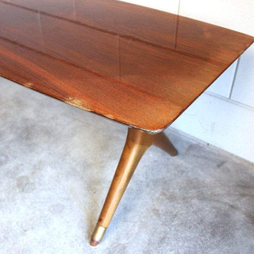 Italian Coffee Table With Brass Ends, 1950s For Sale At Pamono