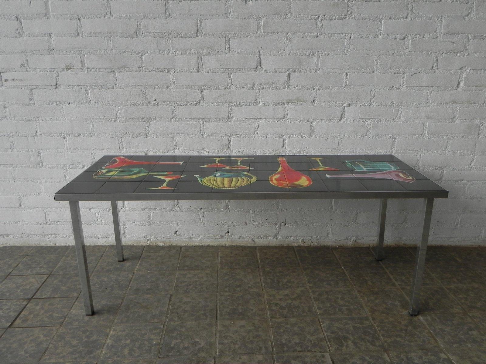 Tavolo vintage con mattonelle decorative in vendita su pamono