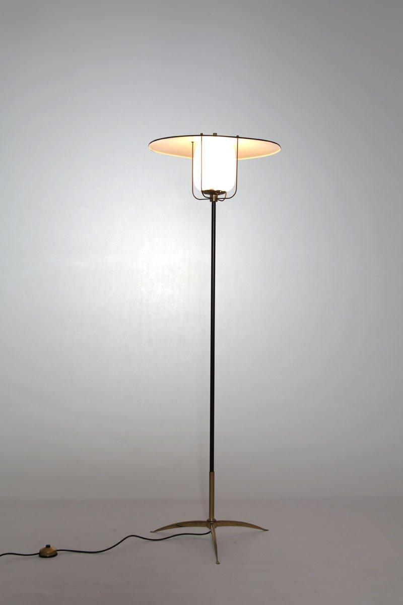 Italienische Stehlampe aus Aluminium & Messing, 1950er