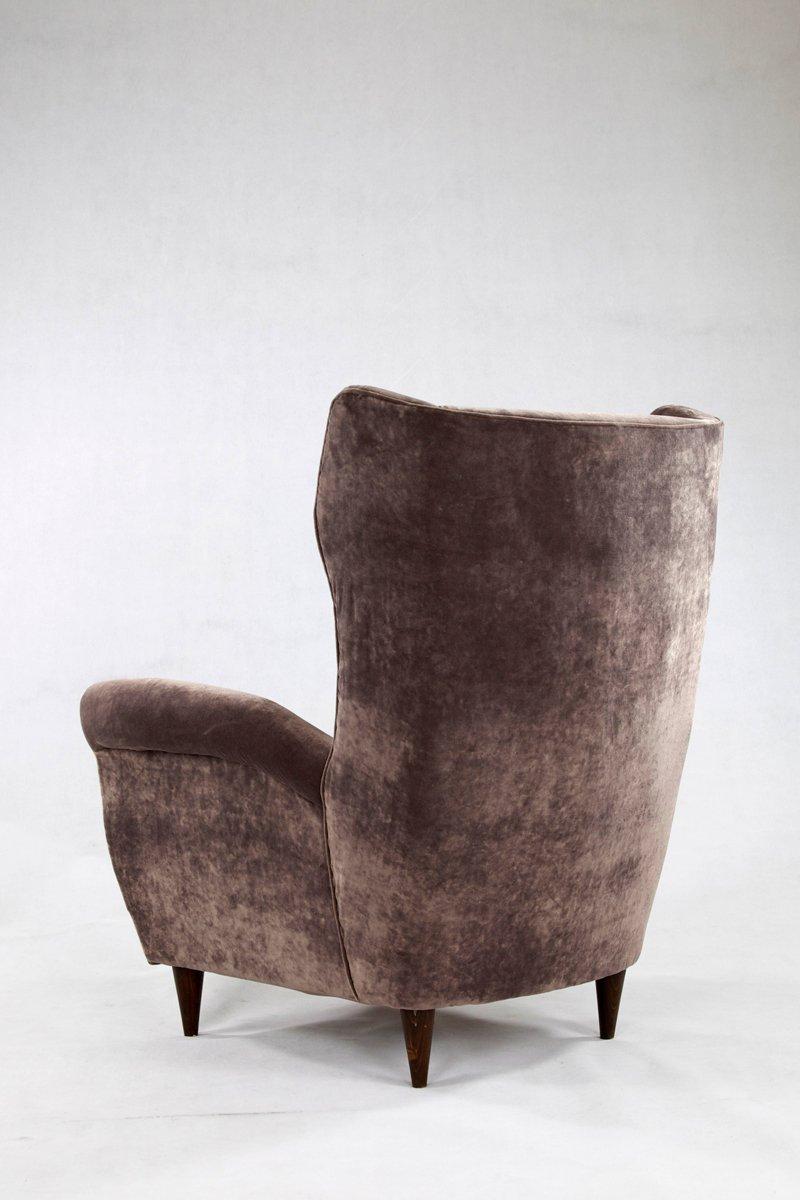 sessel aus grauem samt holz 1950er 2er set bei pamono kaufen. Black Bedroom Furniture Sets. Home Design Ideas