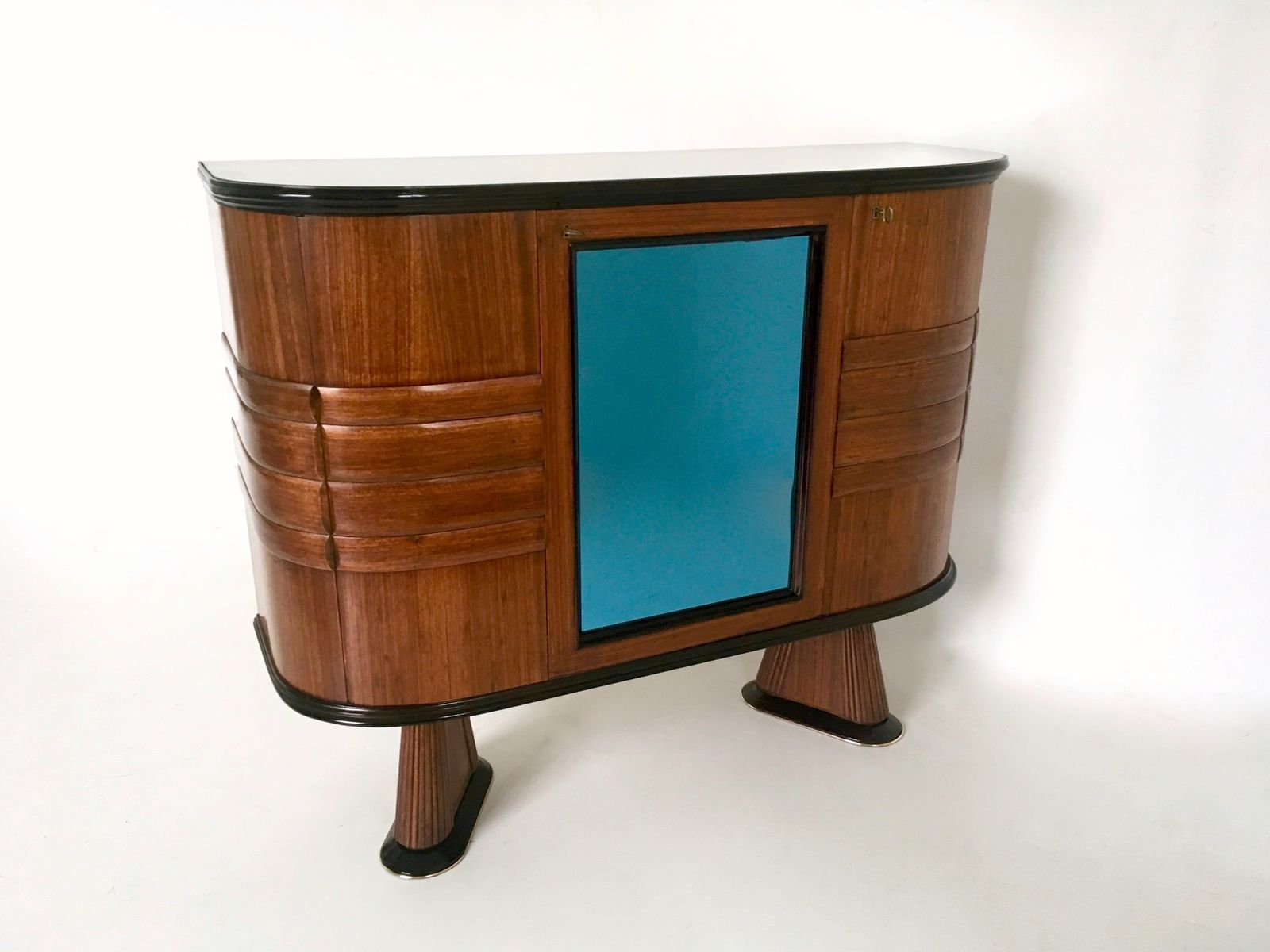 Mueble bar italiano de palisandro y cristal azul a os 50 en venta en pamono - Mueble anos 50 ...