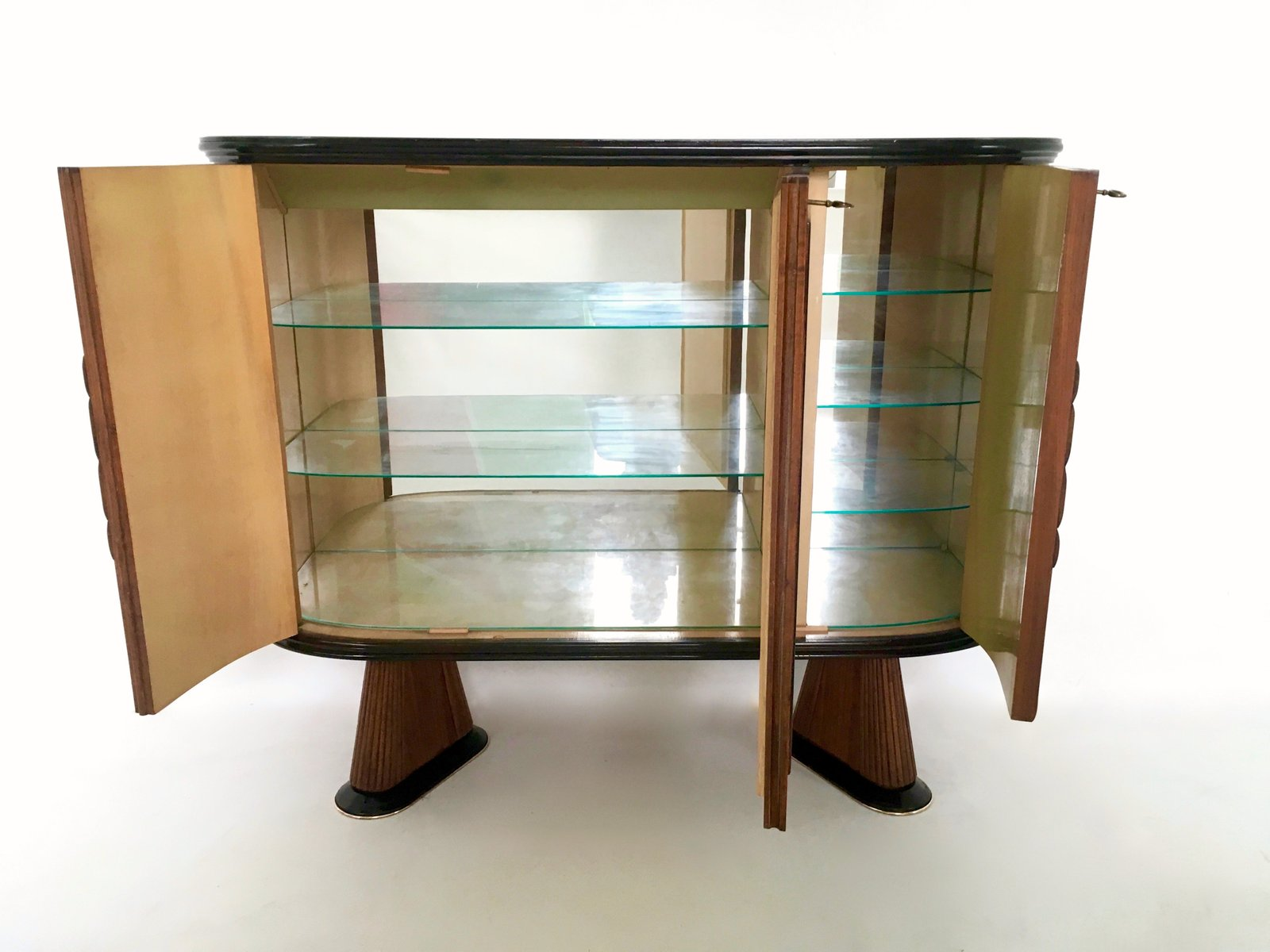 meuble de bar avec miroir bleu en palissandre italie. Black Bedroom Furniture Sets. Home Design Ideas