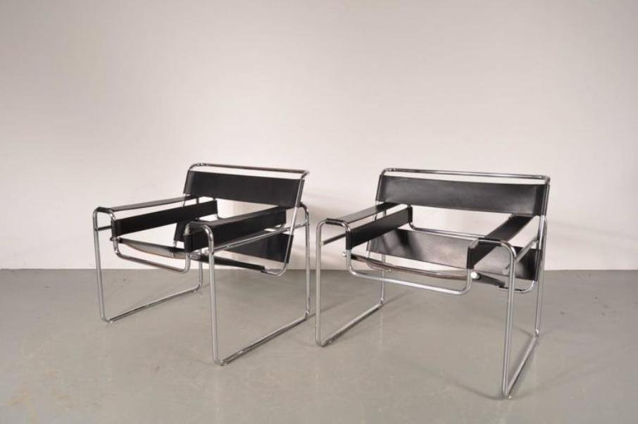 wassily sessel aus leder stahl von marcel breuer f r gavina 1960er 2er set bei pamono kaufen. Black Bedroom Furniture Sets. Home Design Ideas