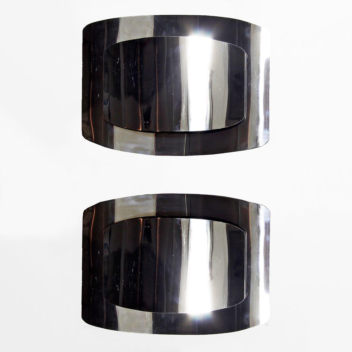 Vernickelte Italienische Messing Wandlampen, 1970er, 2er Set