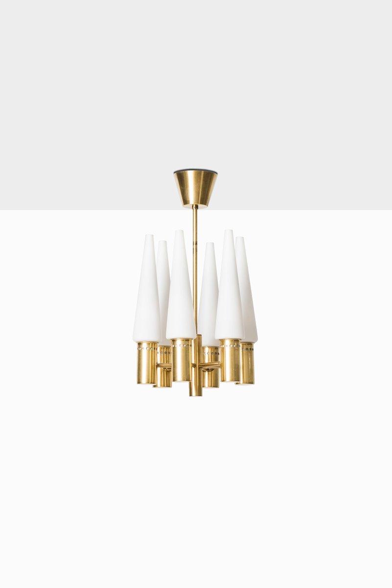 Messing & Oplaglas Deckenlampe von Hans-Agne Jakobsson, 1950er