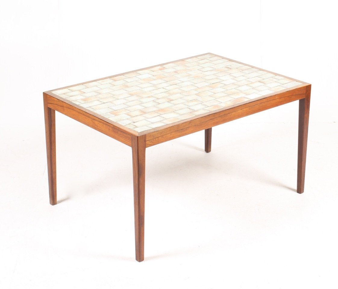 Mid-Century Danish Rosewood Coffee Table With Art Tiles