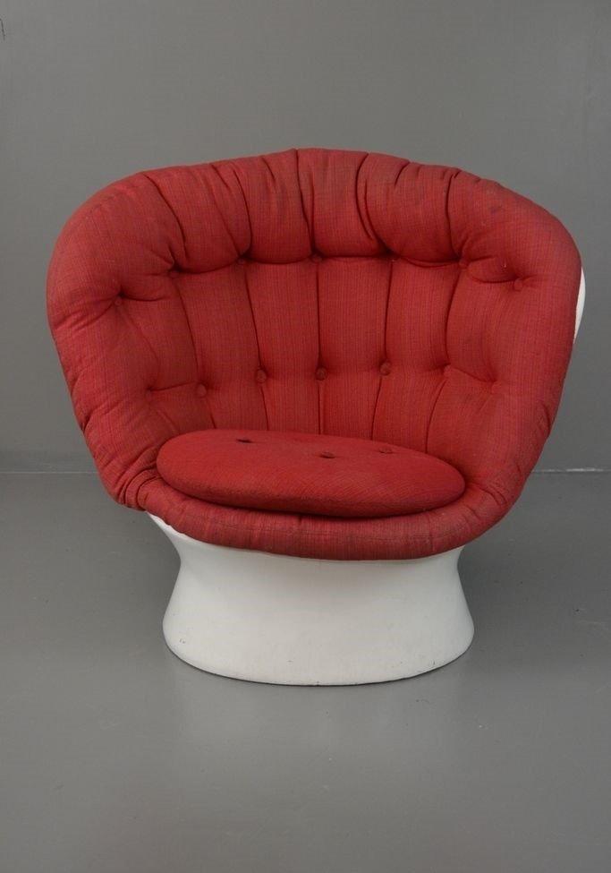 Sessel mit Knöpfen in Weiß und Rot, 1960er