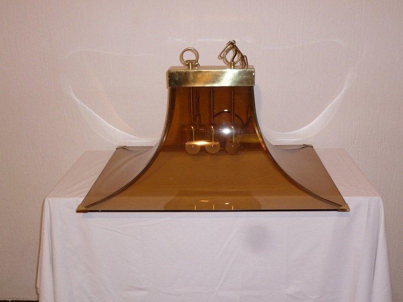 Italienische Deckenlampe aus Braunglas & Messing, 1970er