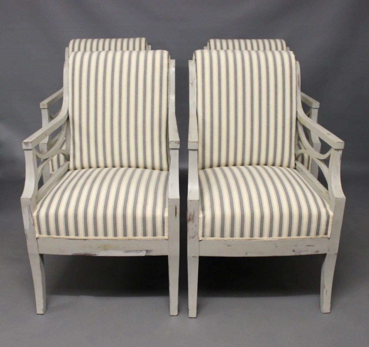 Antike Sessel im Gustavianischen Stil, 4er Set