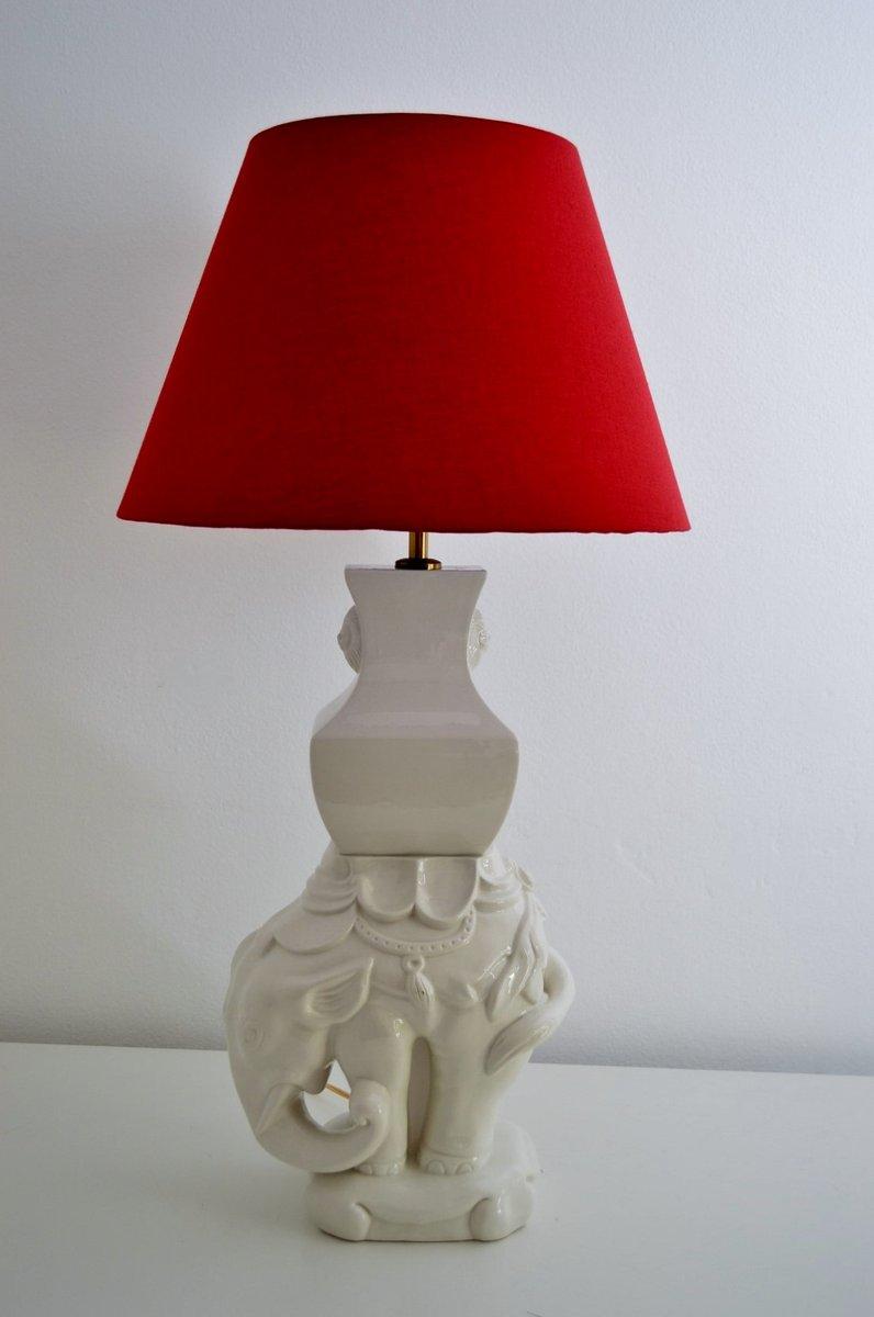 Italienische Elefanten Tischlampe aus Keramik & Messing, 1970er