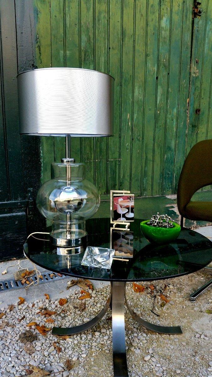 Große Metall & Glas Tischlampe, 1970er
