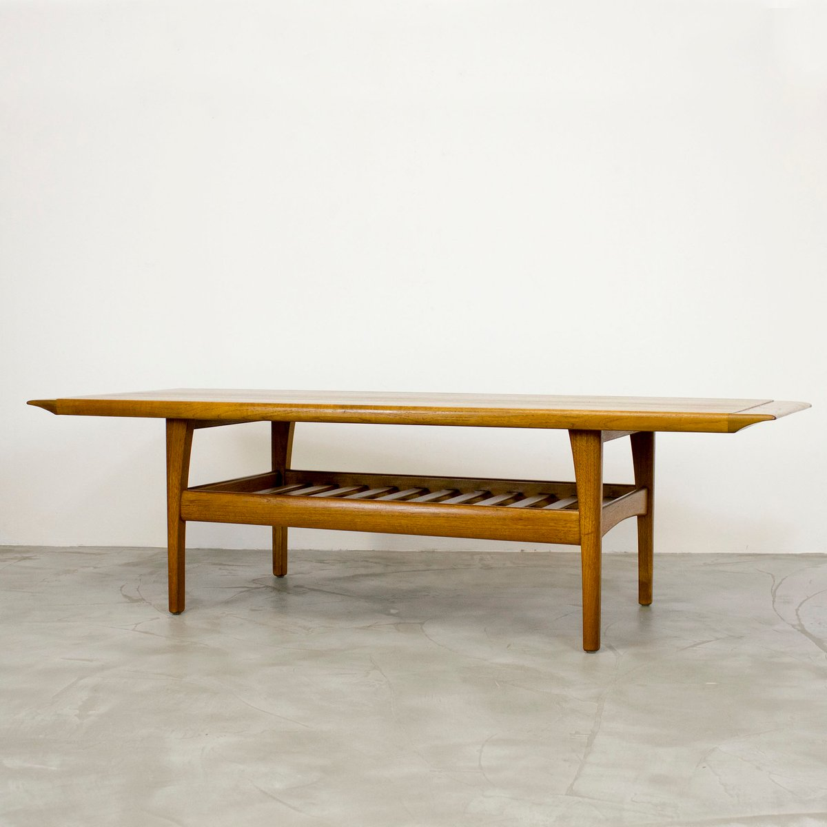 Teak Burger Coffee Table: Danish Teak Coffee Table With Magazine Shelf, 1960s For