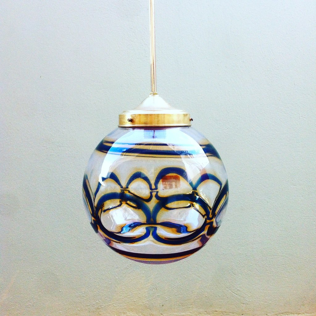 mid century murano glass globe pendant lamp for sale at pamono. Black Bedroom Furniture Sets. Home Design Ideas