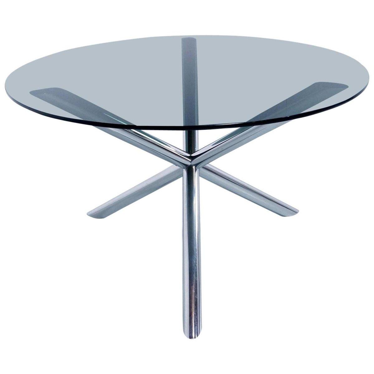 table de salon en chrome et en verre fum par roche bobois 1970s en vente sur pamono. Black Bedroom Furniture Sets. Home Design Ideas