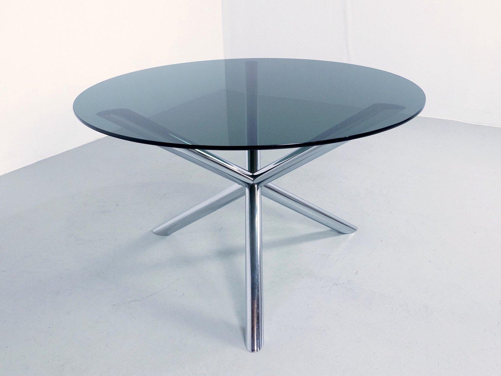 Table de salon en chrome et en verre fum par roche bobois 1970s en vente sur pamono - Roche bobois table en verre ...