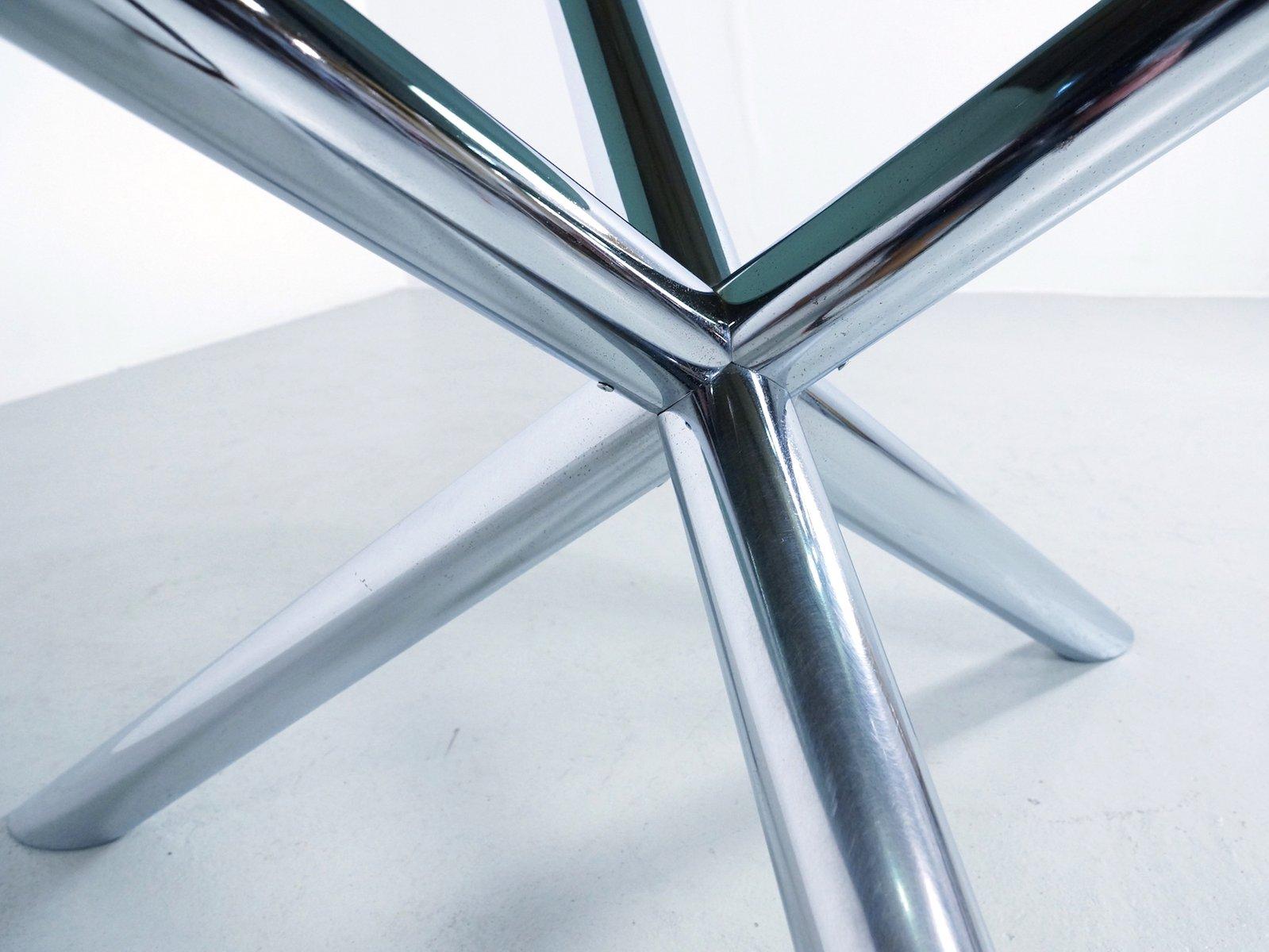 Tavolo da pranzo in metallo cromato e vetro affumicato di Roche ...