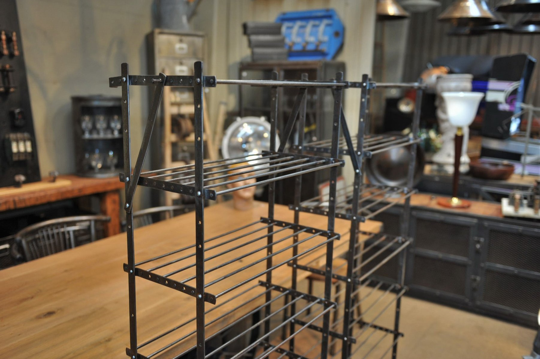 vintage industrial metal shelving unit 1950s 7 192900 price per piece - Industrial Metal Shelving