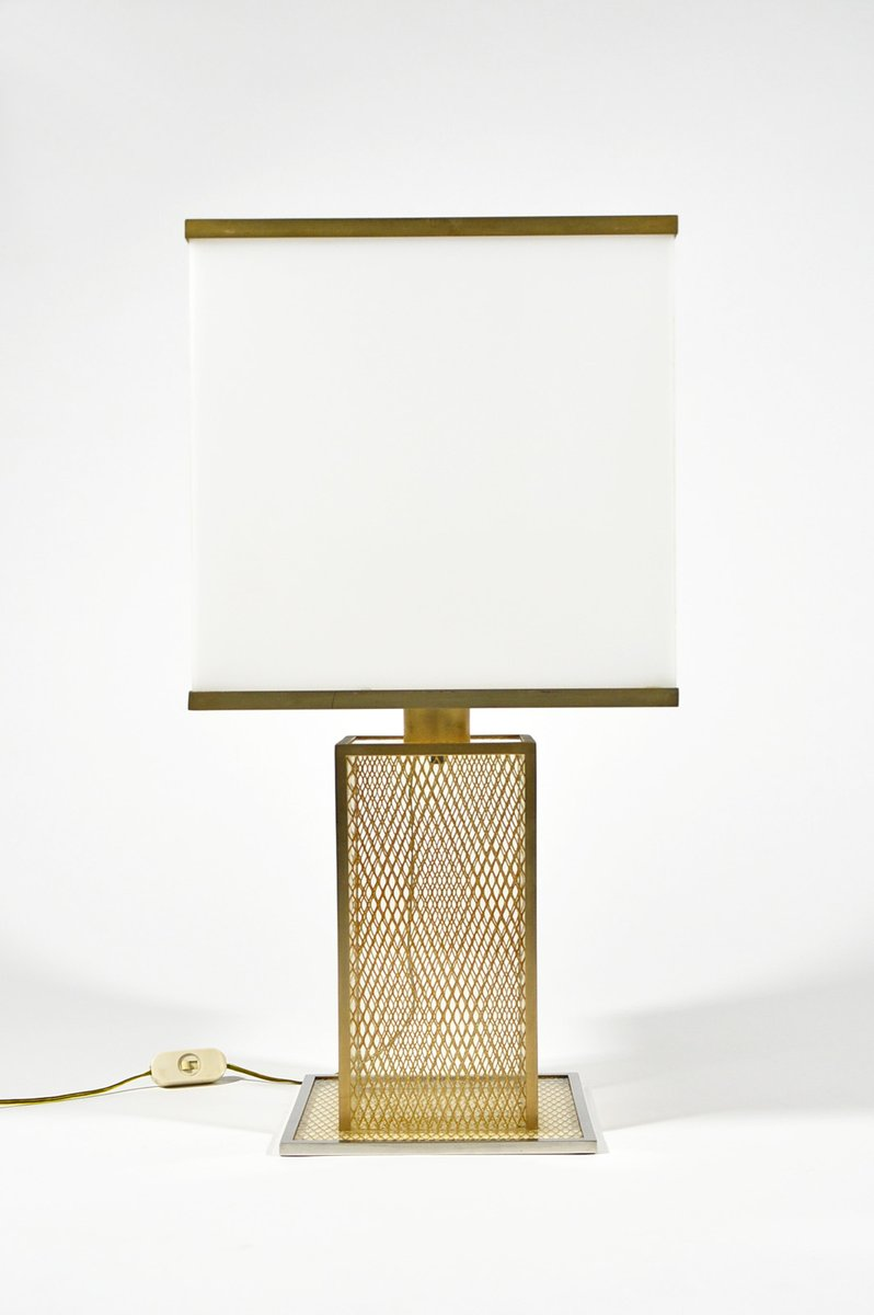 Vintage Italian Lucite, Brass, And Chromed Metal Table Lamp