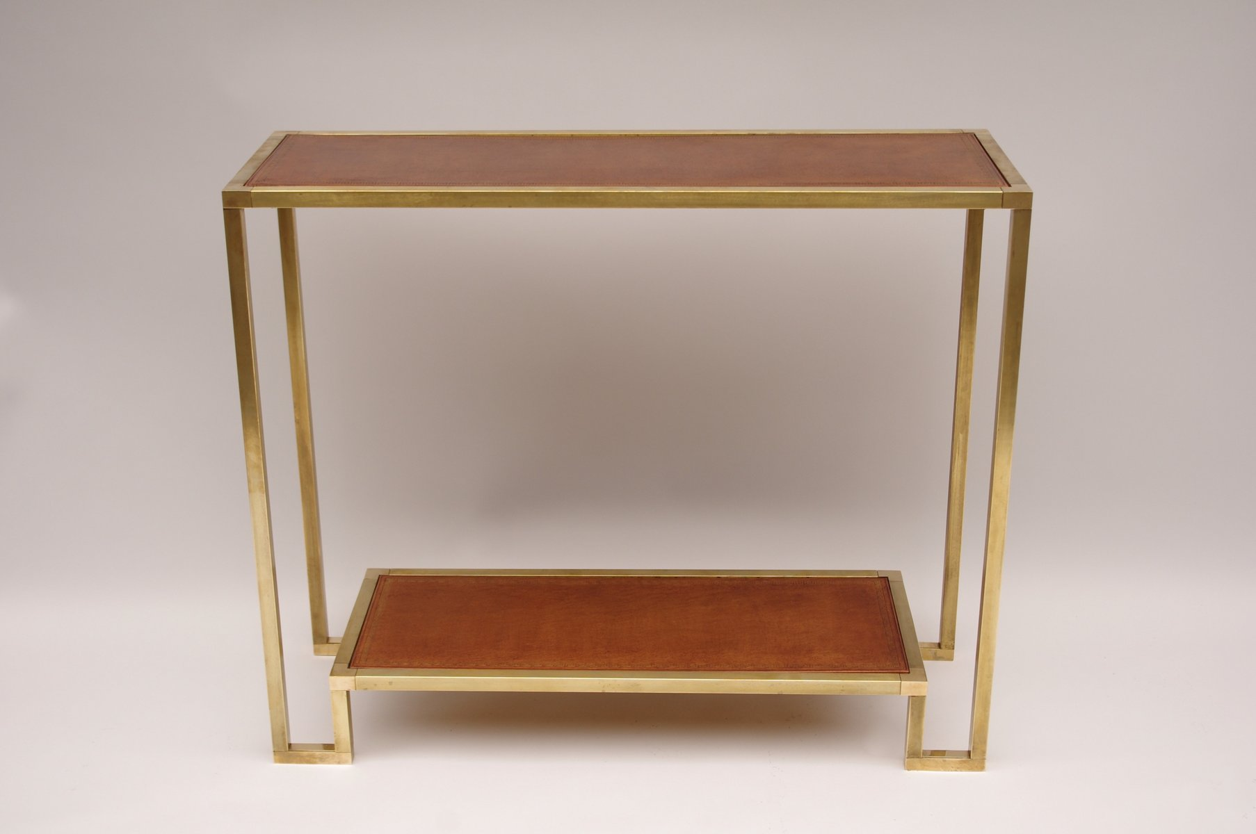 console vintage en laiton dorures avec dessus en cuir en vente sur pamono. Black Bedroom Furniture Sets. Home Design Ideas