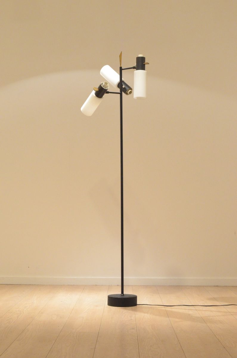 Mid-Century Glas und Messing Stehlampe von Boris Lacroix für Lunel