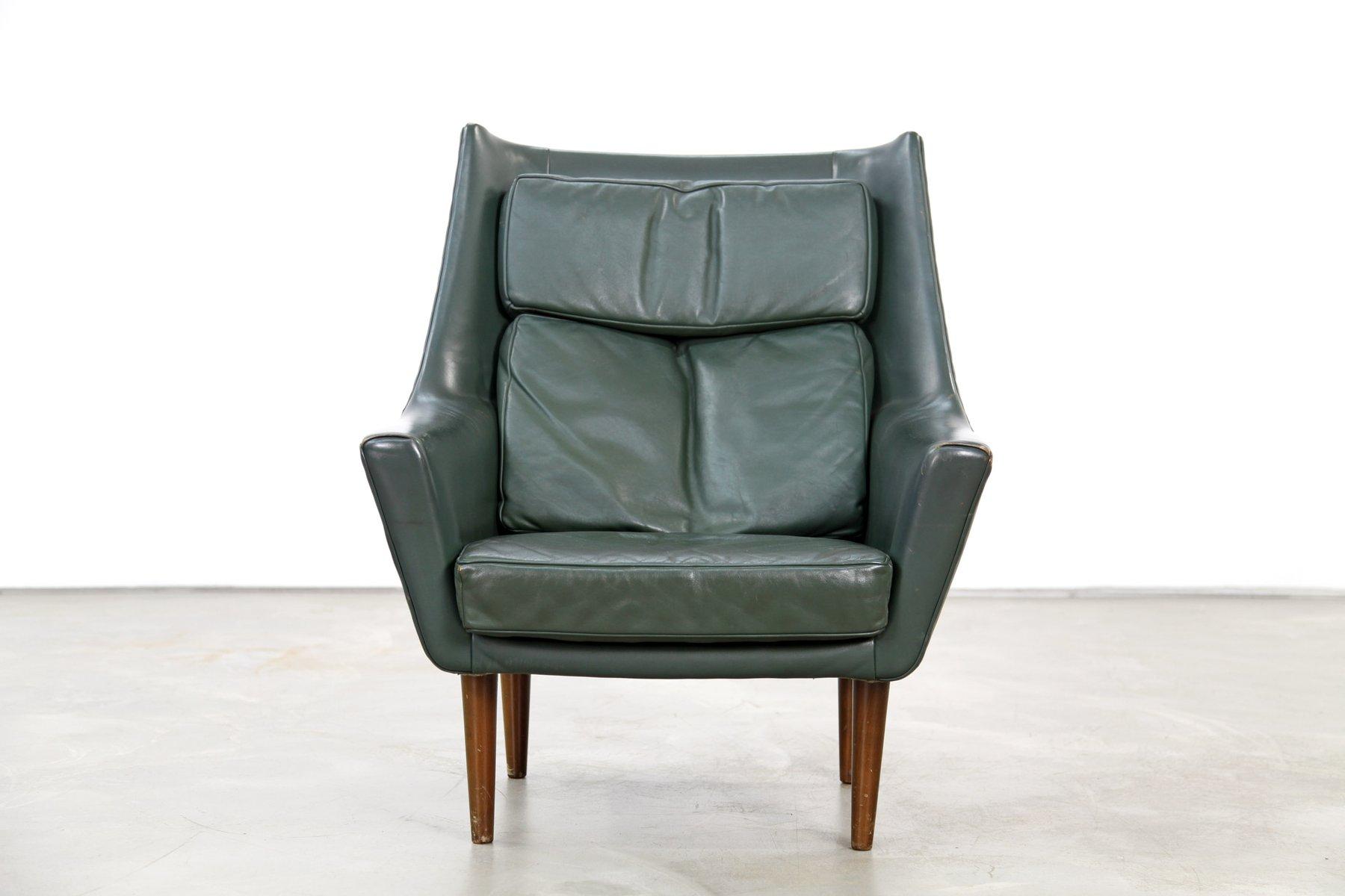 Vintage Danish Dark Green Leather Lounge Chairs Set Of 2