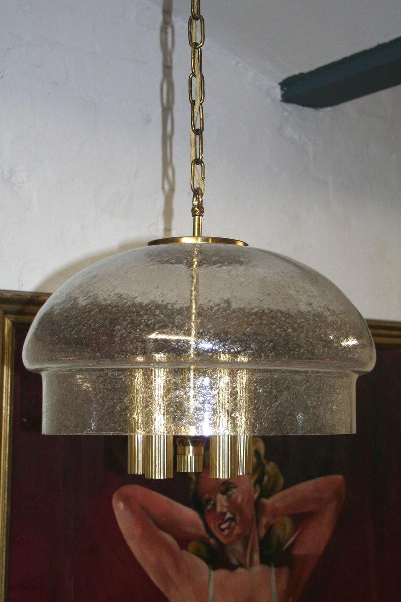 Hängeleuchte aus mundgeblasenem Glas von Glashütte Limburg, 1970er