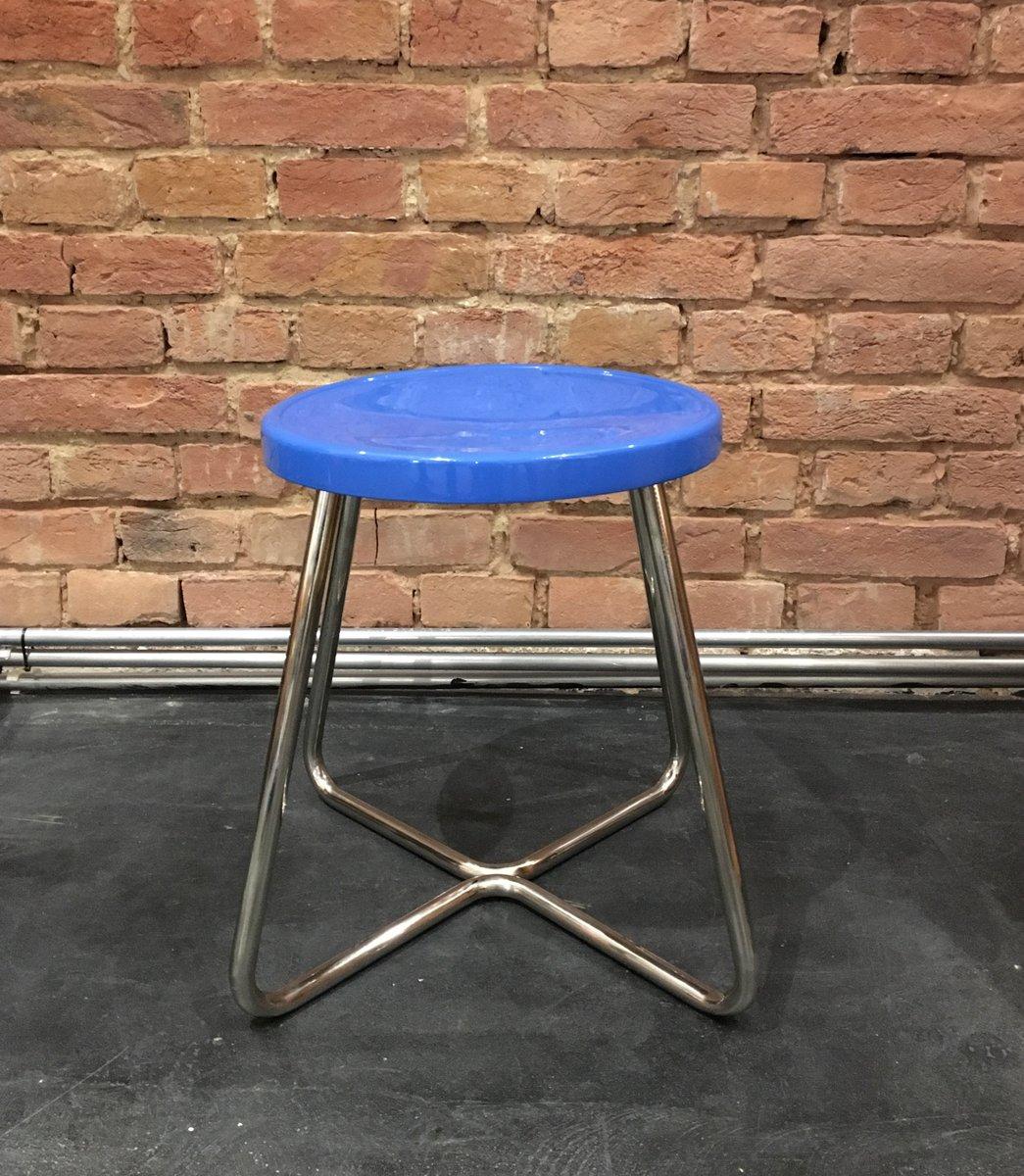 tabouret fonctionnaliste en acier avec si ge bleu 1930s en vente sur pamono. Black Bedroom Furniture Sets. Home Design Ideas