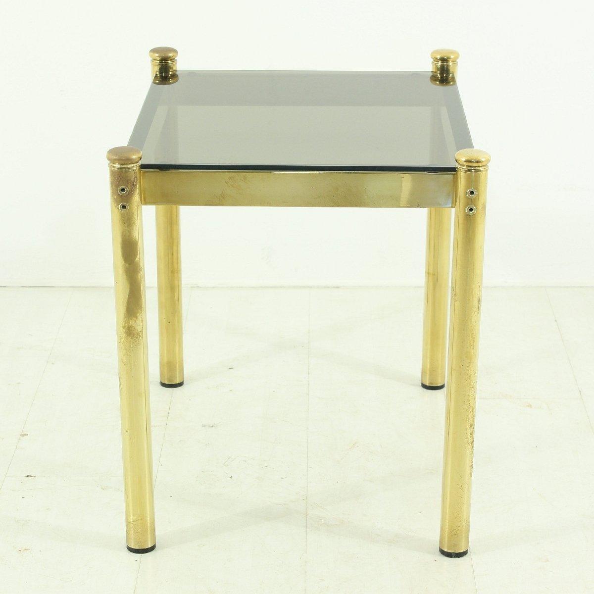 lampe de table vintage en laiton avec plateau en verre fum en vente sur pamono. Black Bedroom Furniture Sets. Home Design Ideas