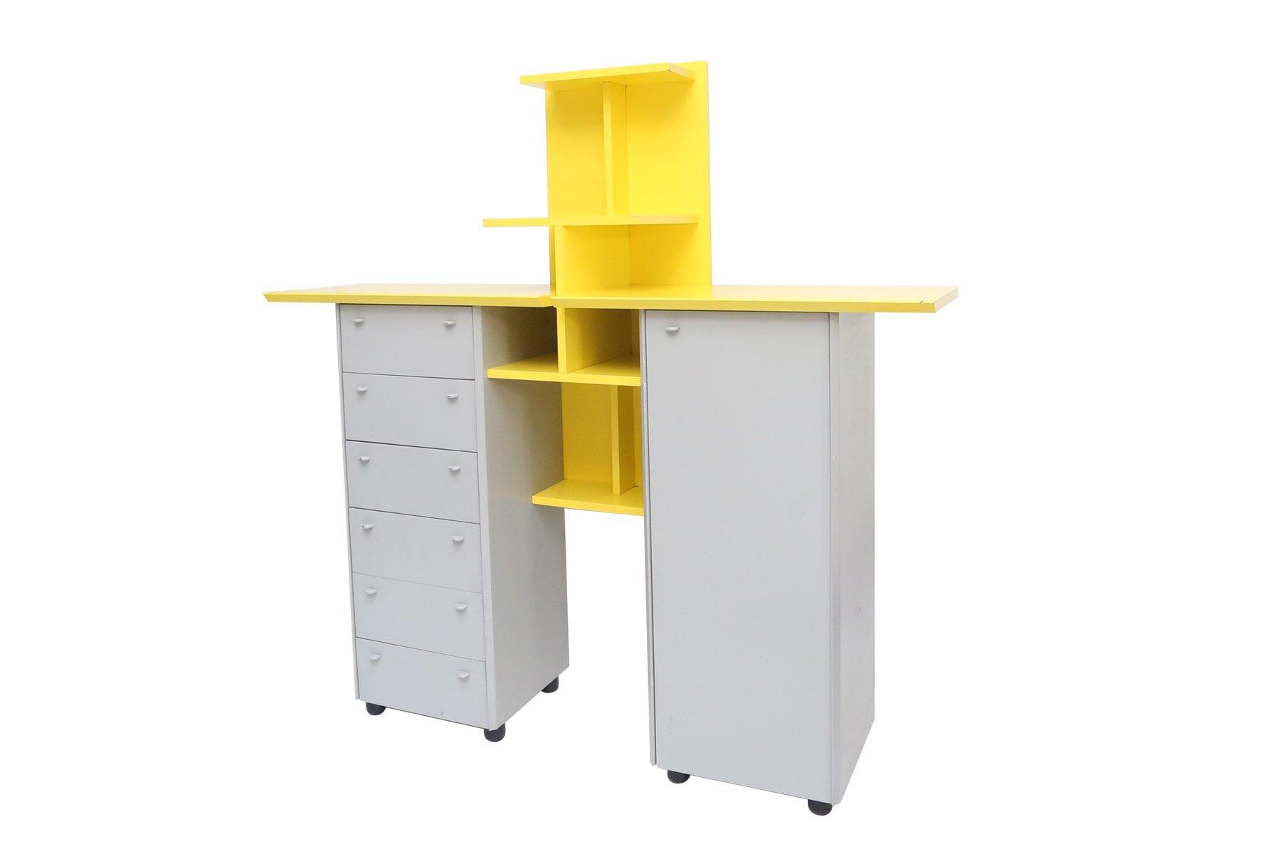 niederl ndische schrankeinheit in grau und gelb 1980er bei pamono kaufen. Black Bedroom Furniture Sets. Home Design Ideas