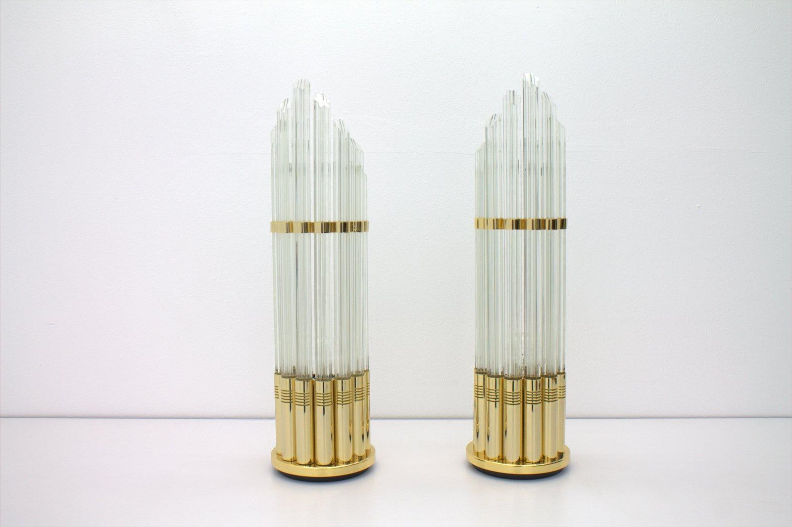 Italienische Tischlampen aus Murano Glas & Vergoldetem Metall, 1970er,...