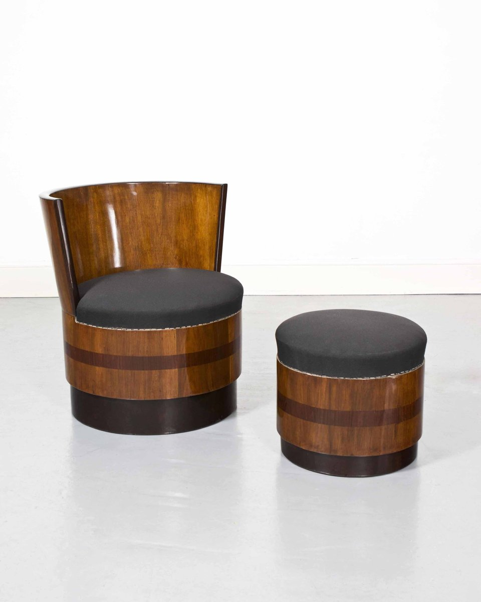 Beau Vintage Art Deco French Barrel Chairs With Footstools, Set Of 2