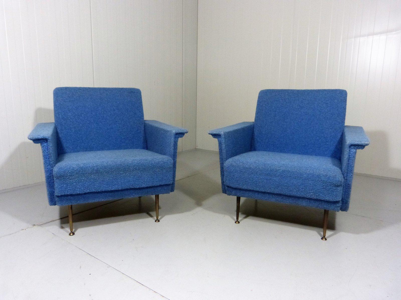 Blaue Sessel, 1950er, 2er Set